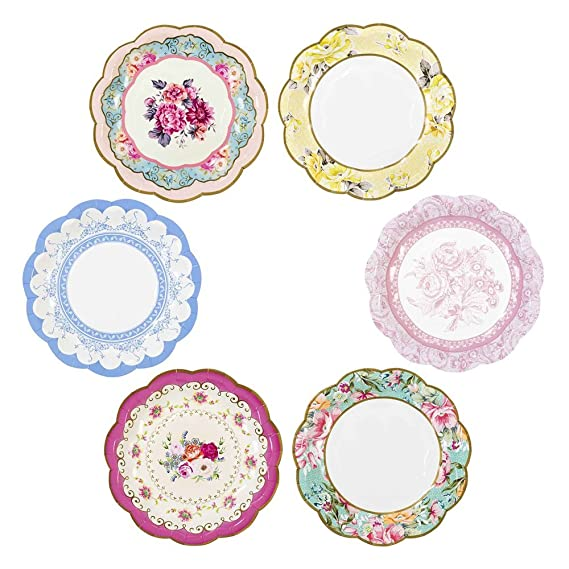 Talking Tables Tea Party Vintage Floral Small Paper Plates | Truly Scrumptious | Also Great For Birthday Party, Baby Shower, Wedding And Anniversary | 12 Count
