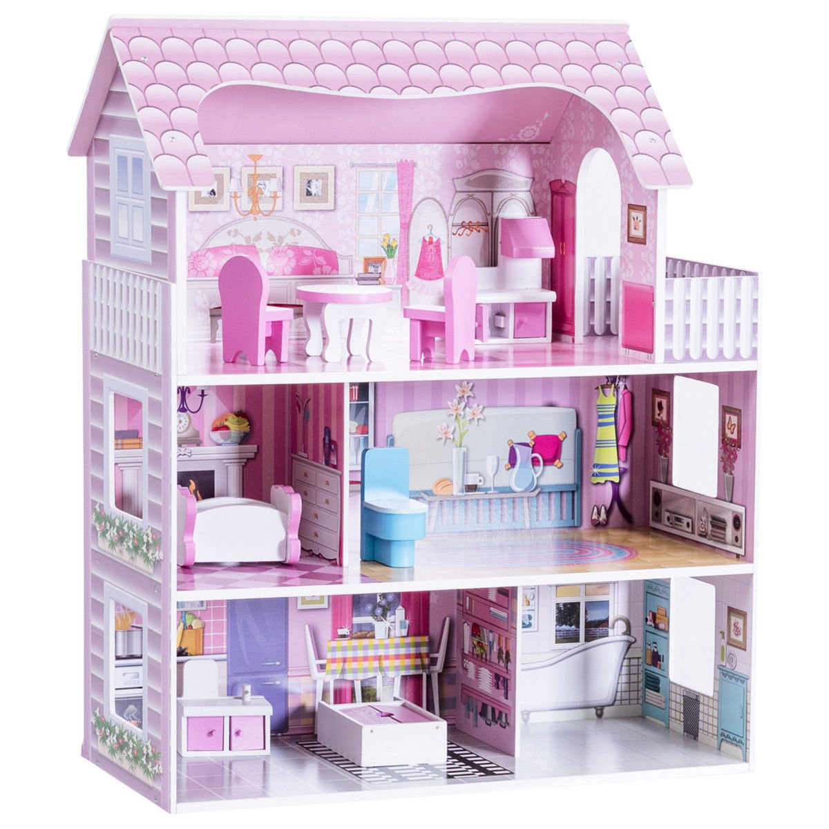 Costzon 28'' Dollhouse 3 Levels House with 5 Rooms and Furniture, Pink