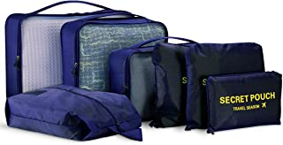 8 Set Packing Cubes - KINGMAS 6 Travel Organizer Luggage Compression Pouches + 1 Clear Toiletry Bags + 1 Shoe Bag