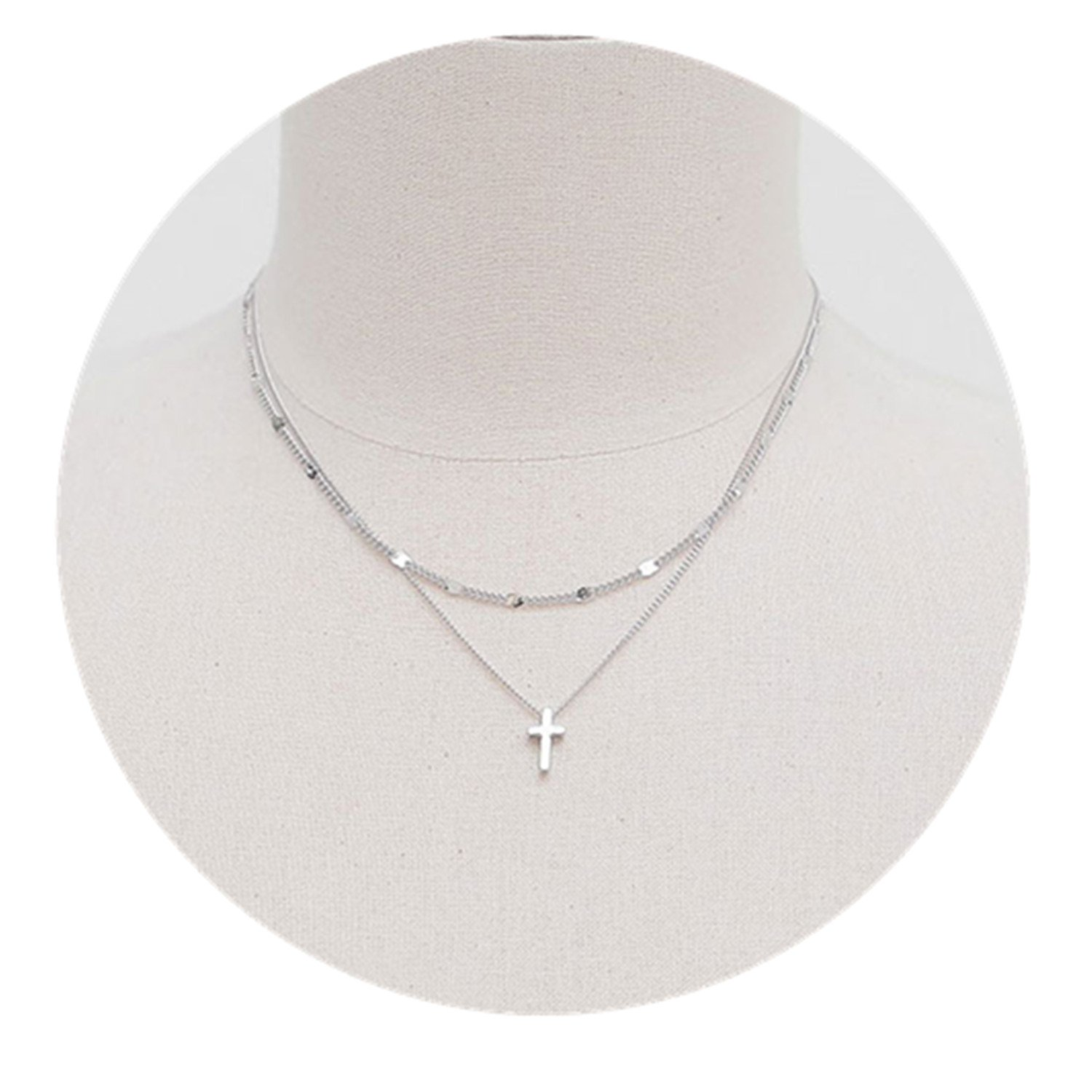 Dot & Line 925 sterling silver double strands layered cross pendant necklace (Silver)