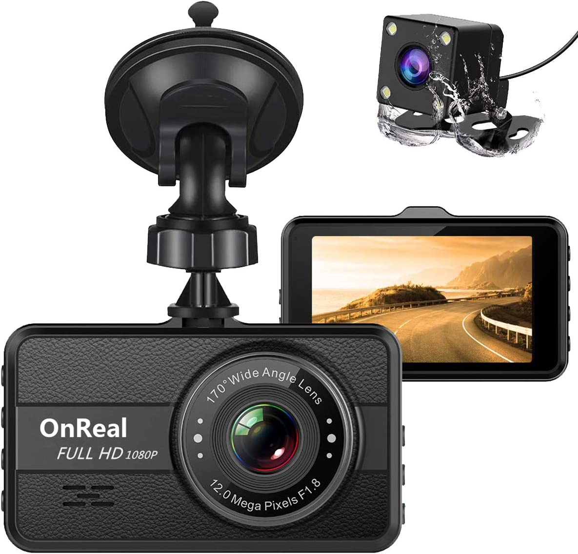 """OnReal Dual Dash Cam FHD 1080P Front and Rear Cameras 3"""" Car Dashboard Recorder with Night Vision, 170 Wide Angle, G Sensor, Parking Monitor, Motion Detection, WDR"""
