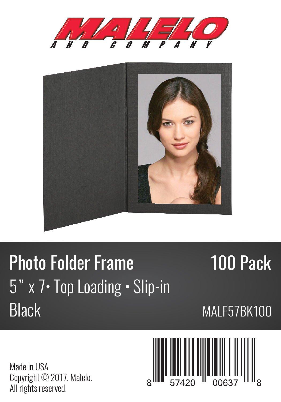 MALELO AND COMPANY Black Cardboard Photo Folder Frame 5x7 - Pack of 100 by MALELO AND COMPANY