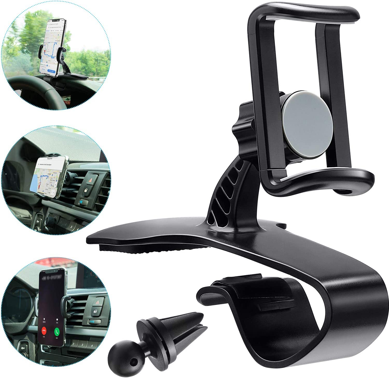 Car Phone Holder Cell Phone Holder for Car Dashboard Cell Phone Holder Dashboard Mount Car Phone Holder Compatible with Smartphones iPhone Samsung (Style 1, Adjustable Mobile Clip)