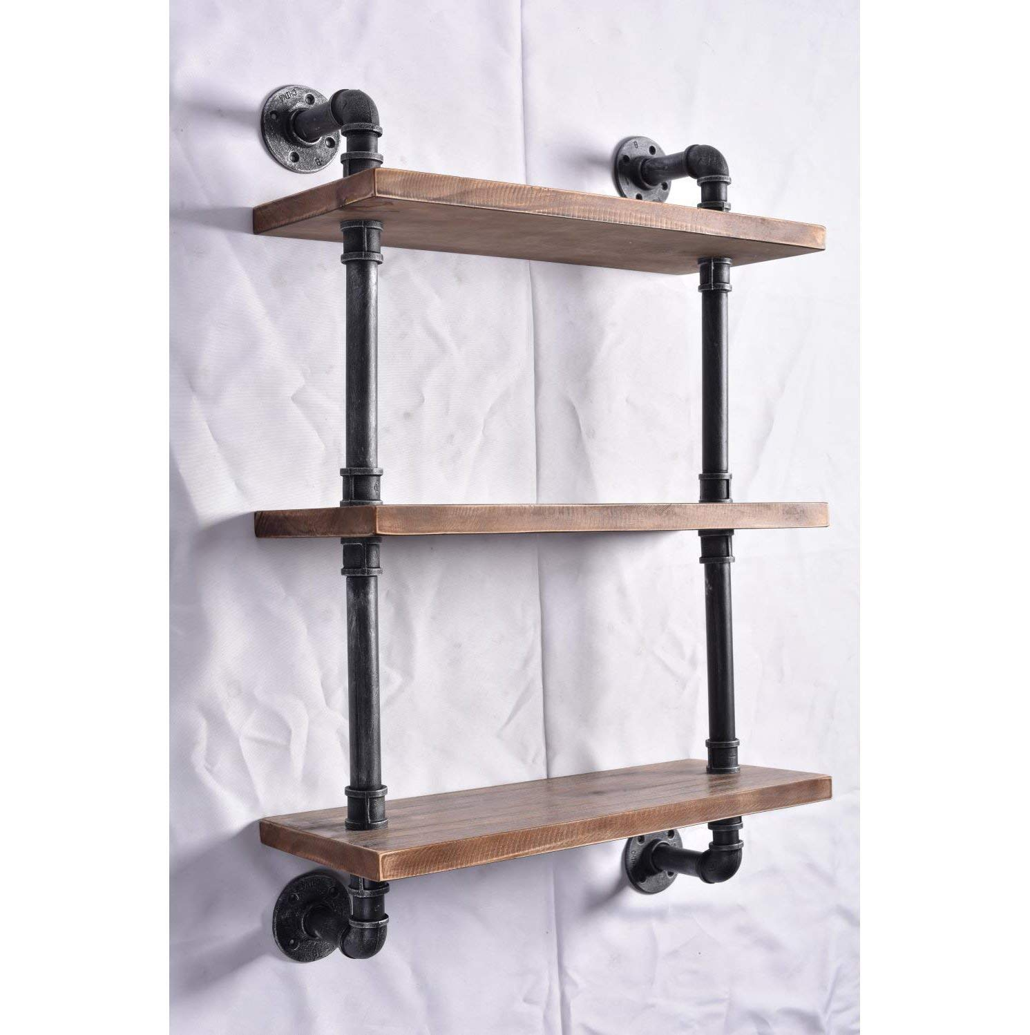 "Diwhy Industrial Pipe Shelving Bookshelf Rustic Modern Wood Ladder Storage Shelf 3 Tiers Retro Wall Mount Pipe Dia 32mm Design DIY Shelving (Silver, L 24"") - 【Retro Style】:Rustic industrial pipe shelf in black finish.Iron pipes and reclaimed real wood composition in vintage style.Storage and decorations.It can also be used outdoors.Extensively anti-rust treatment. - Electroplated finish. 【Size】:Made from quality metal pipe and pine wood. Overall size: length 24in x depth 10in x height 39in.Board size: length 24in x depth 10in x thickness 1.18in.Water pipe diameter: 1.26in, Overall Product Weight:20 lb . 【Multi-functional】:The floating shelves are versatile, such as bathroom accessories, towel holder, bookcase, spice racks. - wall-shelves, living-room-furniture, living-room - 71MkKWooSVL -"