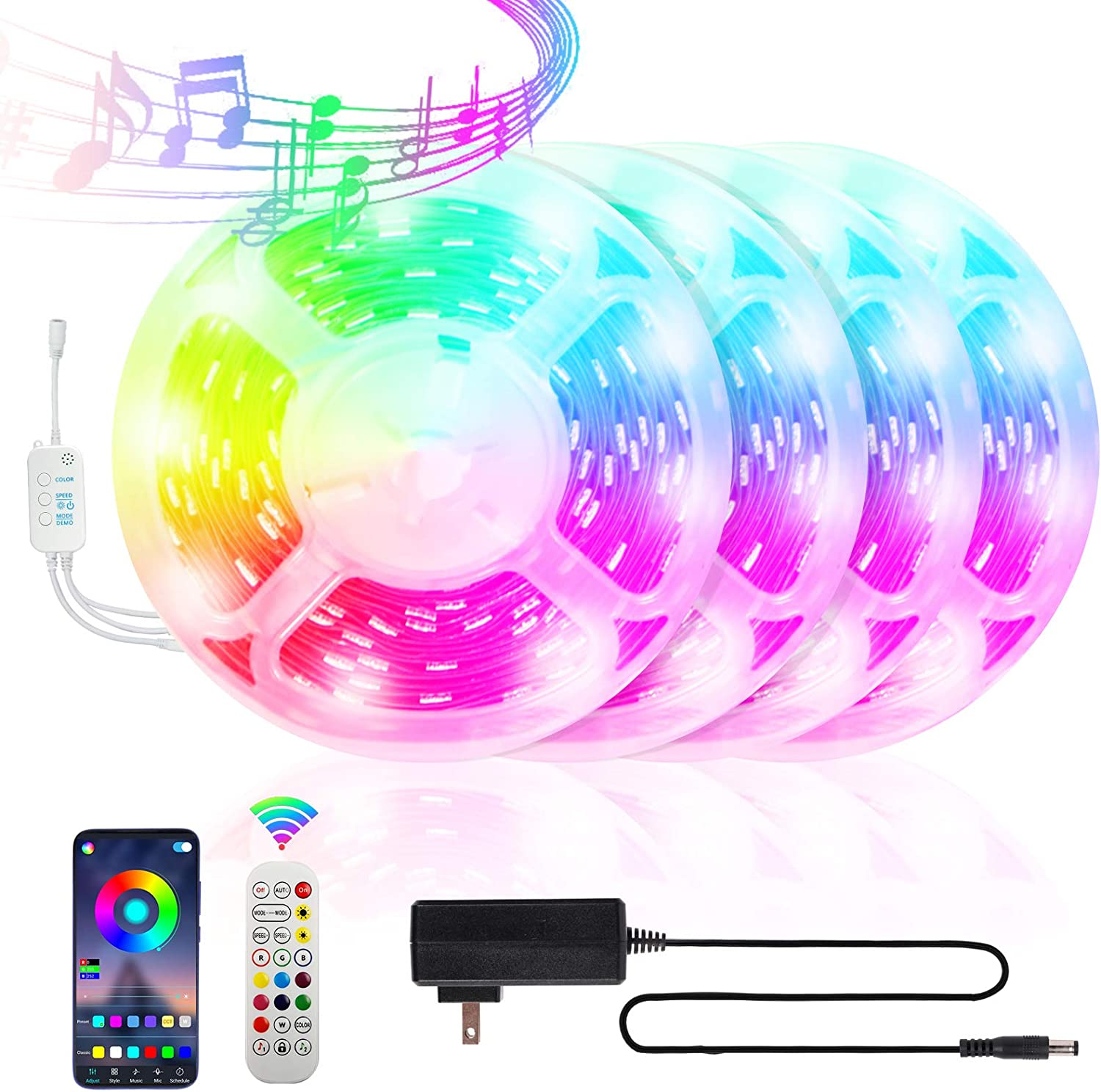 JEKKIS 65.6FT/20M RGB LED Strip Lights, 360 5050 SMD Color Changing LEDs, Music Sync Bluetooth Controller + 24 Key Remote LED Lights for Bedroom Room Home Party (4x16.4FT)