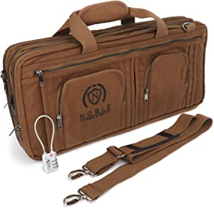 Waxed Canvas Chef Knife Bag Holds 19 Knives PLUS Knife Steel Meat Cleaver and Large Storage Compartments! Our Most Durable Professional Line Knife Carrier Includes Custom Padlock! (Bag Only) (Khaki)