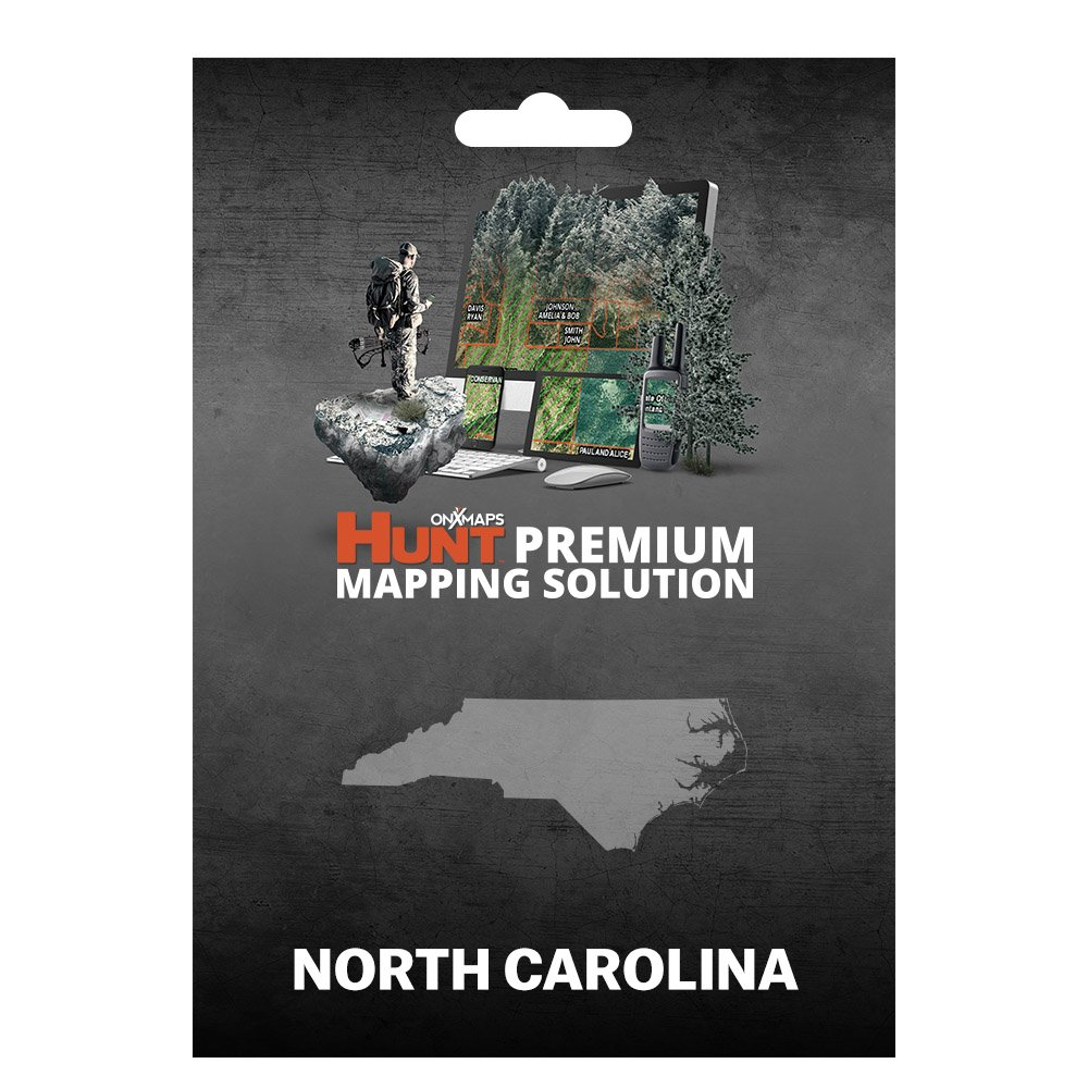onXmaps HUNT North Carolina: Digital Hunting Map For Garmin GPS + Premium Membership For Smartphone and Computer - Color Coded Land Ownership - 24k Topo - Hunting Specific Data