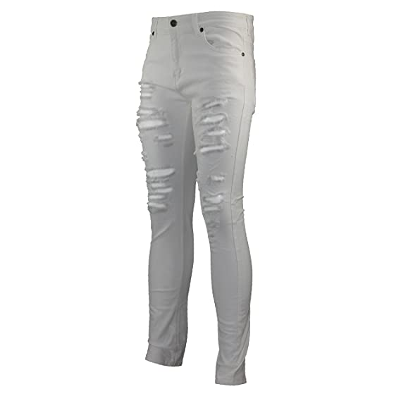 36f57ef1cf4e New Mens Skinny Jeans Super Stretch Ripped Cutaway Extreme Open Frayed Rip  Denim  Amazon.co.uk  Clothing