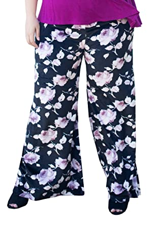 37cad7ad915 Womens Plus Size Relaxed Wide Fit Black Printed Velvet Palazzo Pants - 1X  Black