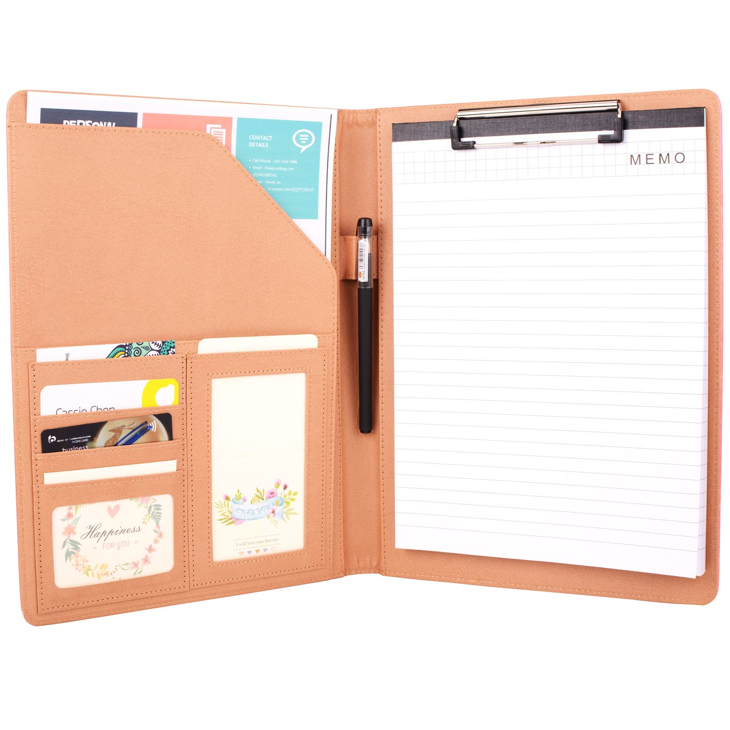 Padfolio Resume Portfolio Folder - Interview / Business Card Holder ,Pen Holder,With Letter-Sized Writing Pad (Pink)