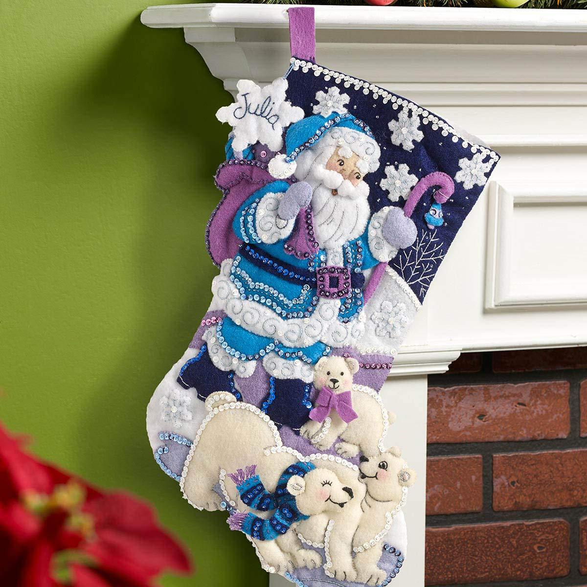 86653 Arctic Santa Bucilla 18-Inch Christmas Stocking Felt Applique Kit