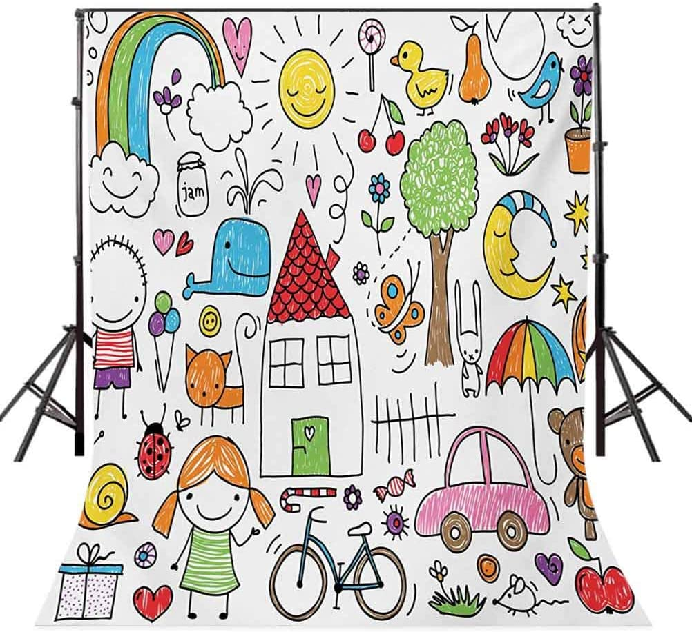 Doodle 10x15 FT Backdrop Photographers,Simple Childlike Drawing of House Girl and Boy Teddy Bear and Various Other Things Background for Party Home Decor Outdoorsy Theme Vinyl Shoot Props Multicolor