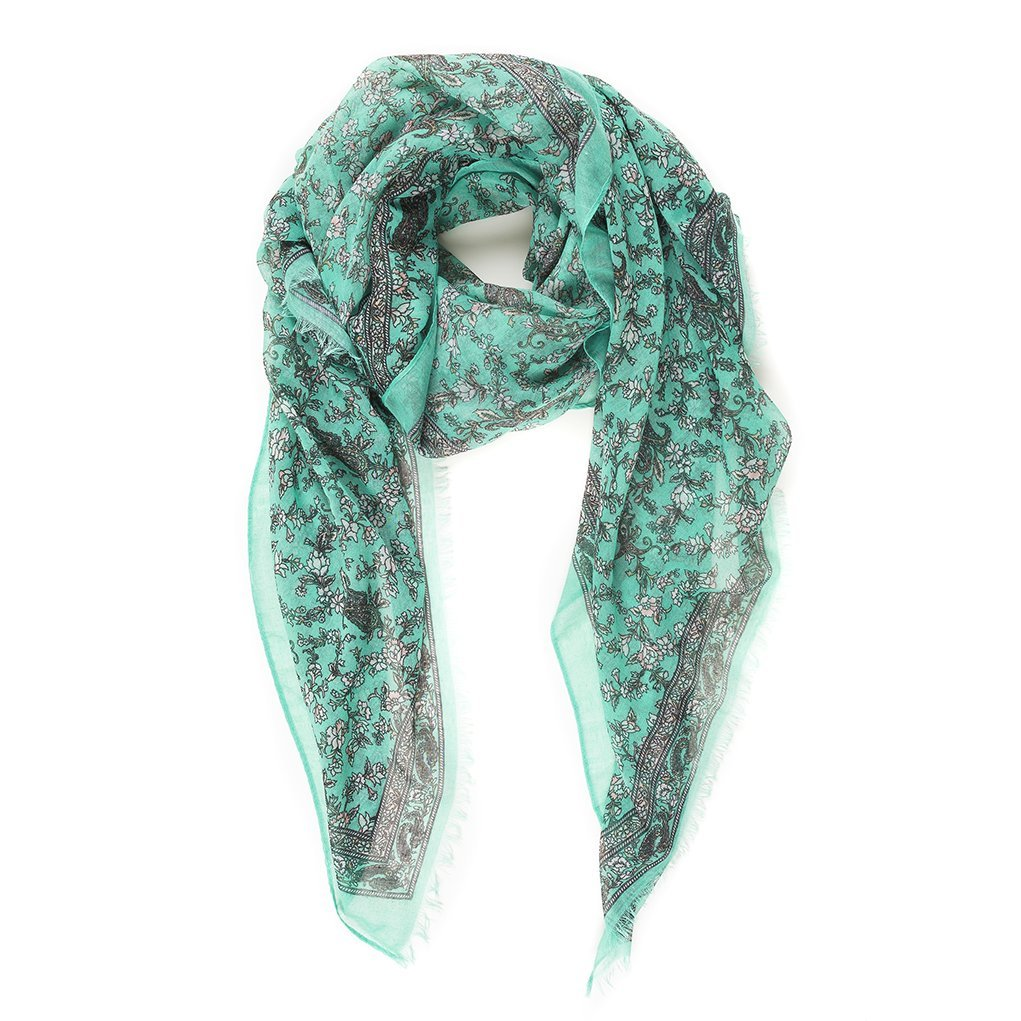 Scarf for Women Lightweight Summer Fall Green Gray Paisley Scarves Head Shawl Wraps by Melifluos (NF04-10)