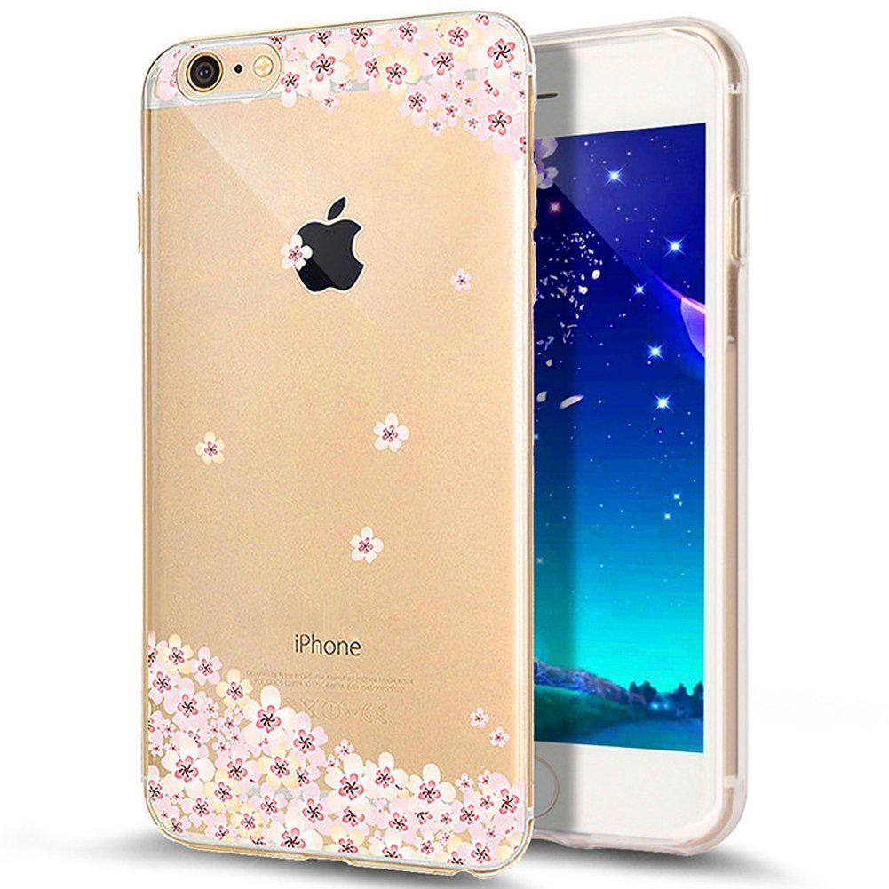 Scratch Resistant Ultrathin TPU Case Silicone Crystal Kirstall Clear Case Transparent Flowers Pattern iPhone Case Cover iPhone 6S Plus Case,iPhone 6 Plus Case