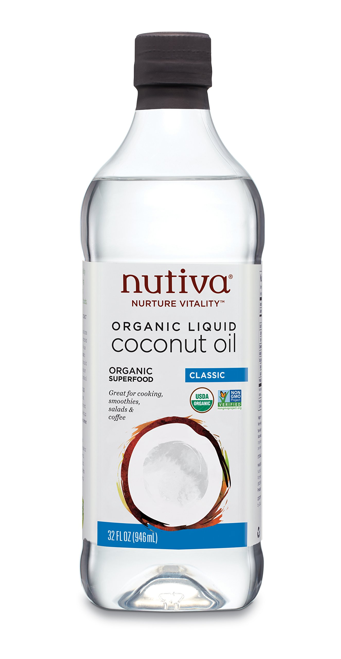 Nutiva Organic, Unrefined, Liquid Coconut Oil from Fresh, non-GMO, Sustainably Farmed Coconuts, 32 Fluid Ounces