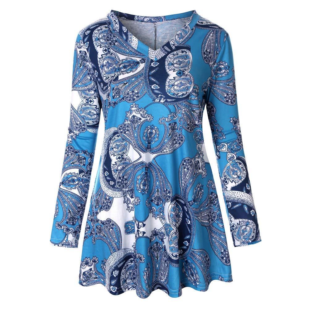 Subfamily Damen Long Sleeve Blumendruck BeiläUfige Lose Tops Tunika Bluse Shirt Frauen Langarm Print T Shirt Top Bekleidung Sale