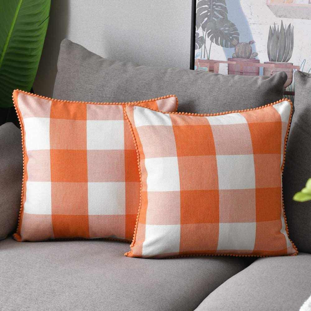 WLNUI Set of 2 Large Fall Orange Buffalo Plaid Pillow Covers 24x24 Inch with Cute Pom Poms Retro Farmhouse Rustic Check Throw Pillow Covers Square Cushion Case for Farmhouse Home Couch Sofa Decor
