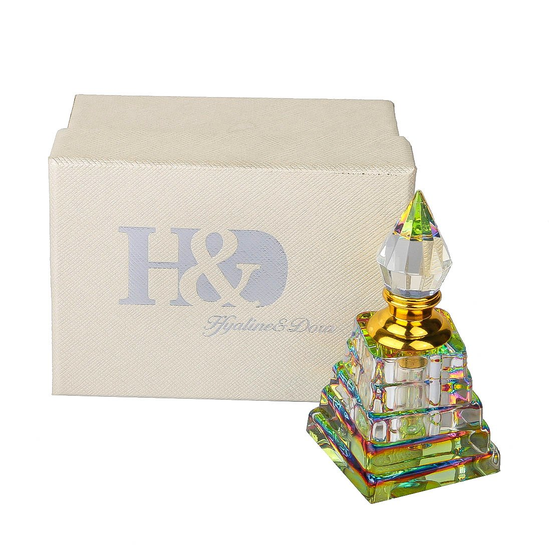 H&D 3ml Egyptian Pyramid Style Crystal Perfume Bottle Refillable Empty Decorative Bottle