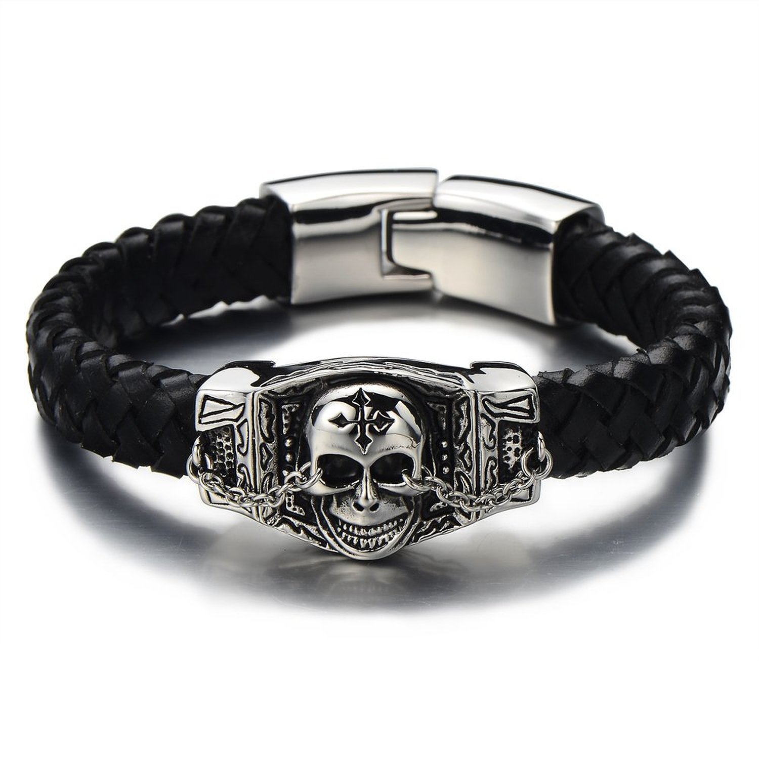 Gothic Style Mens Skull Bracelet Genuine Braided Leather Bracelet Stainless Steel Silver Black Polished COOLSTEELANDBEYOND MB-161A-CA