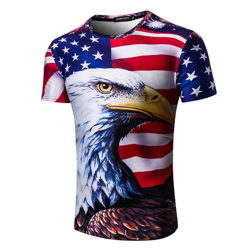 Men's Comfort Soft T-Shirt Tops Blouse, Youth & Adult Unisex 3D Print Cool Animal Pullover Sweatshirt Tee Blouse (01 White, XXXL)