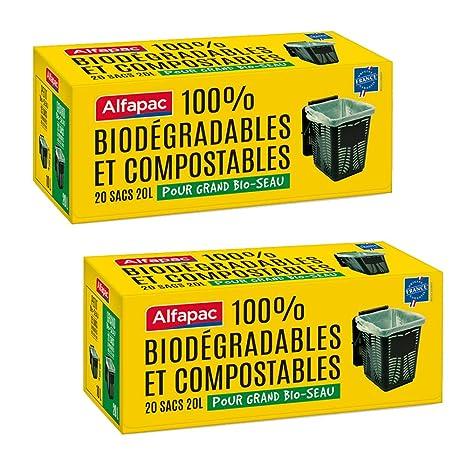 Alfapac - 20 Bolsas de Basura de 20 litros con Asas, tamaño ...