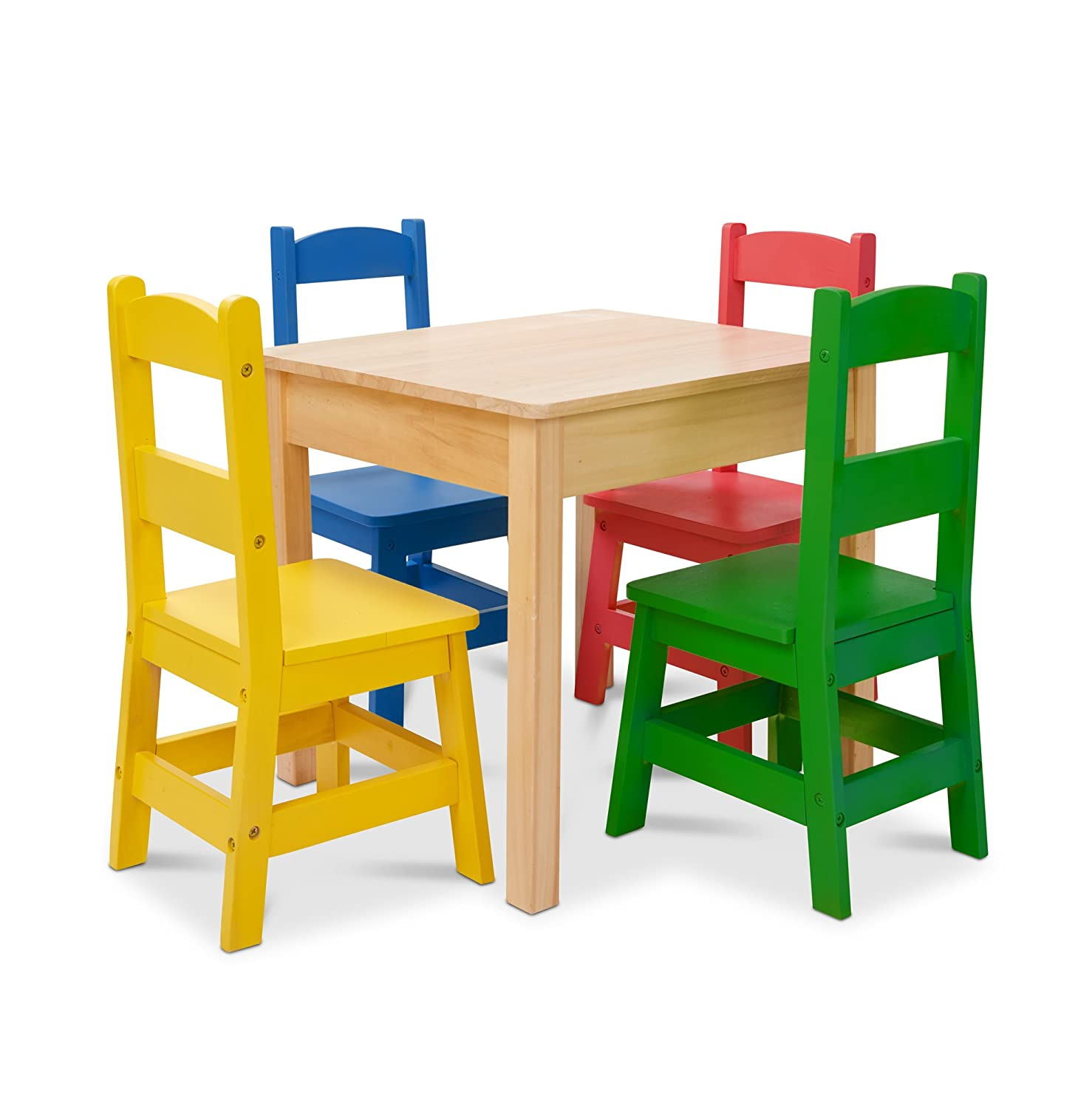Melissa & Doug Kids Furniture Wooden Table & 4 Chairs - Primary (Natural Table, Yellow, Blue, Red, Green Chairs) (Amazon Exclusive) 30233