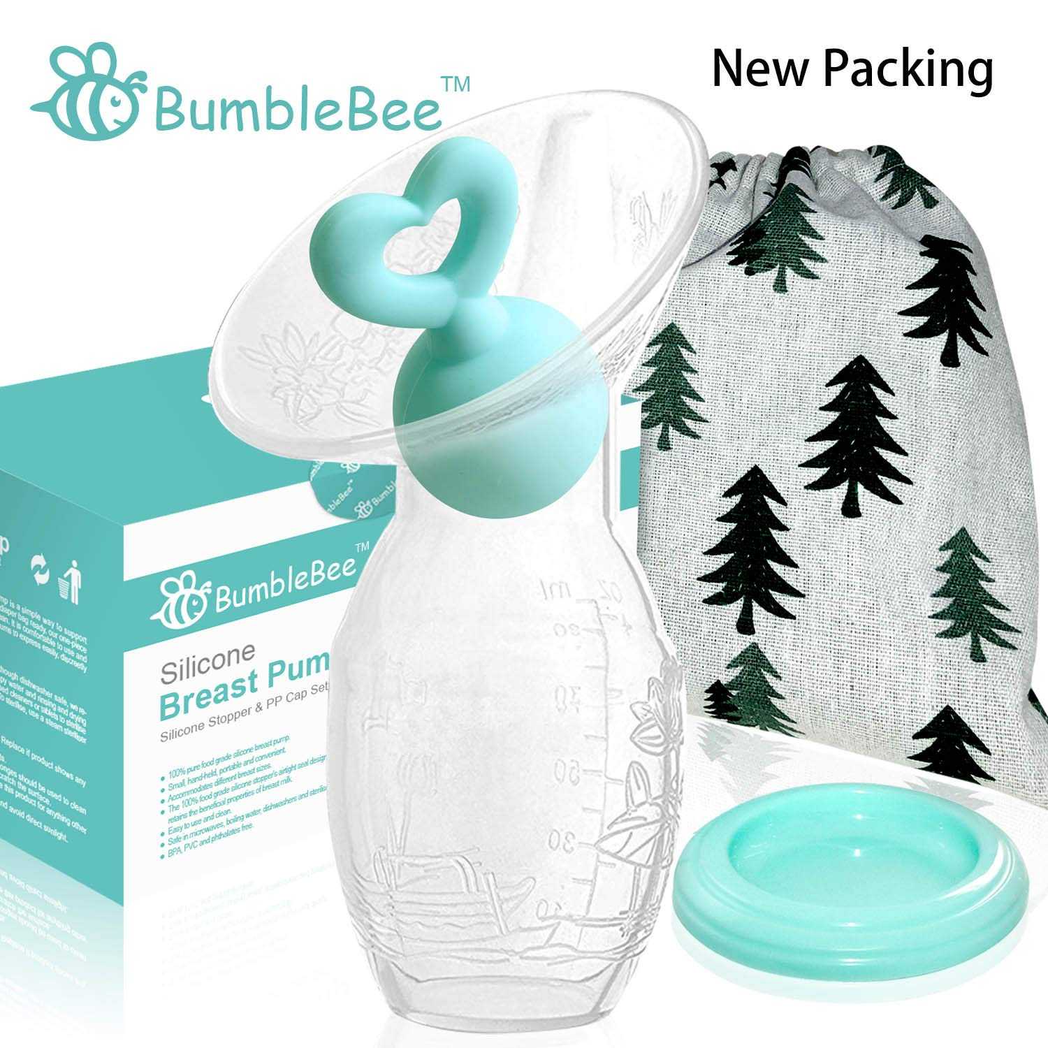 Bumblebee Manual Breast Pump with Breastfeeding Milk Saver Stopper& lid in Gift Box Similar haakaa Breastpump 100% Food Grade Silicone bpa PVC and Phthalate Free by Bumblebee