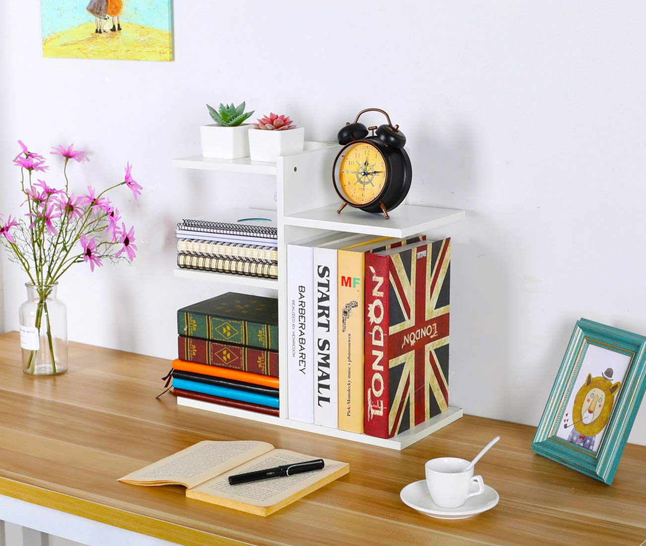PAG Wood Desktop Bookshelf Assembled Countertop Bookcase Literature Holder Accessories Display Rack Office Supplies Desk Organizer, White by PAG (Image #8)