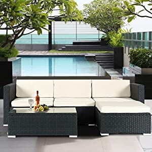 Tangkula Patio Furniture Set, 5 PCS Waterproof UV Resistant L Shaped PE Wicker Set, Perfect for Outdoor Poolside Garden Lawn Balcony, Tempered Glass Top Table and Chairs with Cushions, Sectional Sofa
