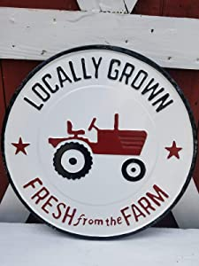 Grow Fresh in The Local Farm from The Farm red Tractor Round Sign-Diameter 12 Inches