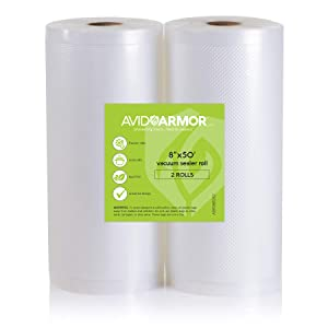 "Two 8""x50' Vacuum Sealer Bags Rolls for Food Saver, Seal a Meal & other Vac Machines, Embossed Heavy-Duty Storage Commercial, BPA Free & Sous Vide Vaccume Safe Cut Roll to Make Bag 100 Feet Avid Armor"