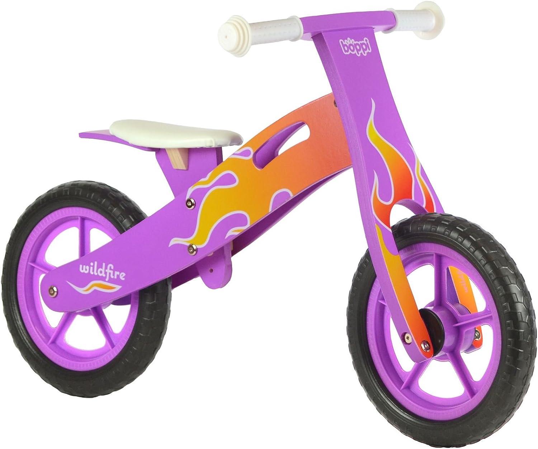 boppi® Bici sin pedales de madera para niños de 2-5 años - Violeta con llama de Fuego