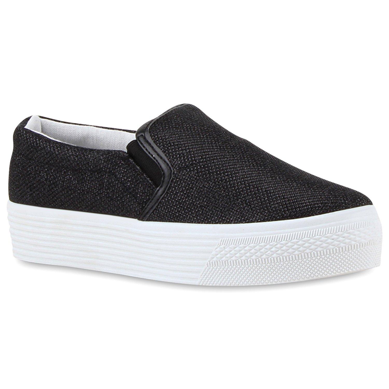 Stiefelparadies Damen Sneaker Slip Ons mit Plateau Glitzer Flandell  37 EU|Schwarz Muster