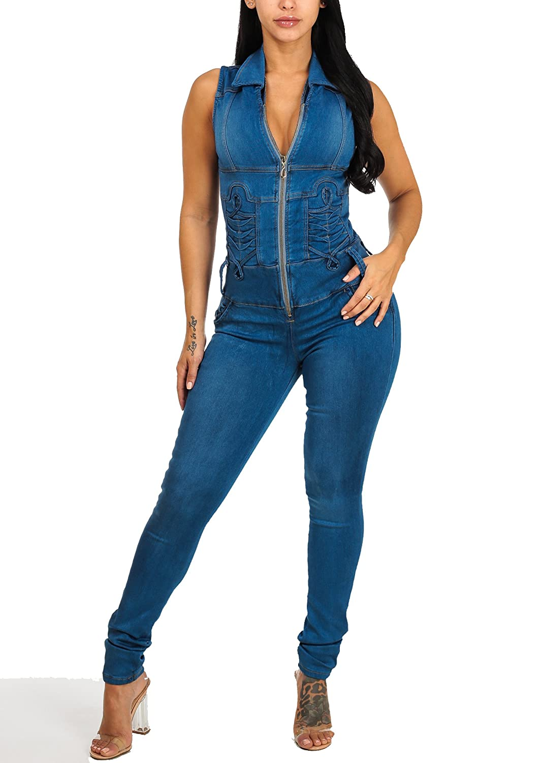 2aea2553b4aa Rock this light wash denim jumpsuit the next time you hit the city with  your girls. Skinny Leg. Sleeveless.