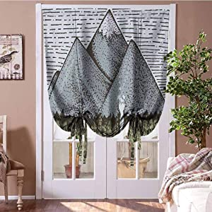 Bedroom Curtains Mountain Balloon Curtains Sketchy Art of Mountain Range with a Small Country House Vintage Look Home Fashion Window Treatment Slate Blue Green Taupe Rod Pocket Panel, 23