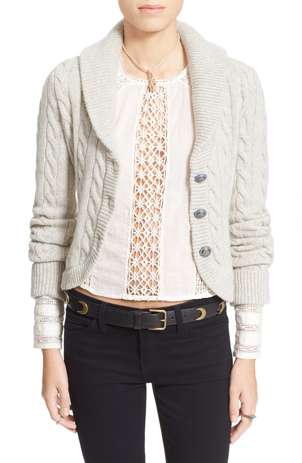 Free People Women's 'Viceroy' Shawl Collar Crop Cardigan (Small, White Ivory)
