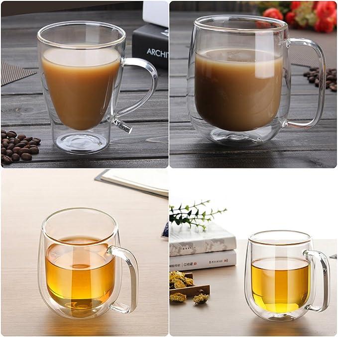 Lembeauty Tasse en verre borosilicate /à double paroi avec poign/ée et isolation thermique Transparent 300 ml