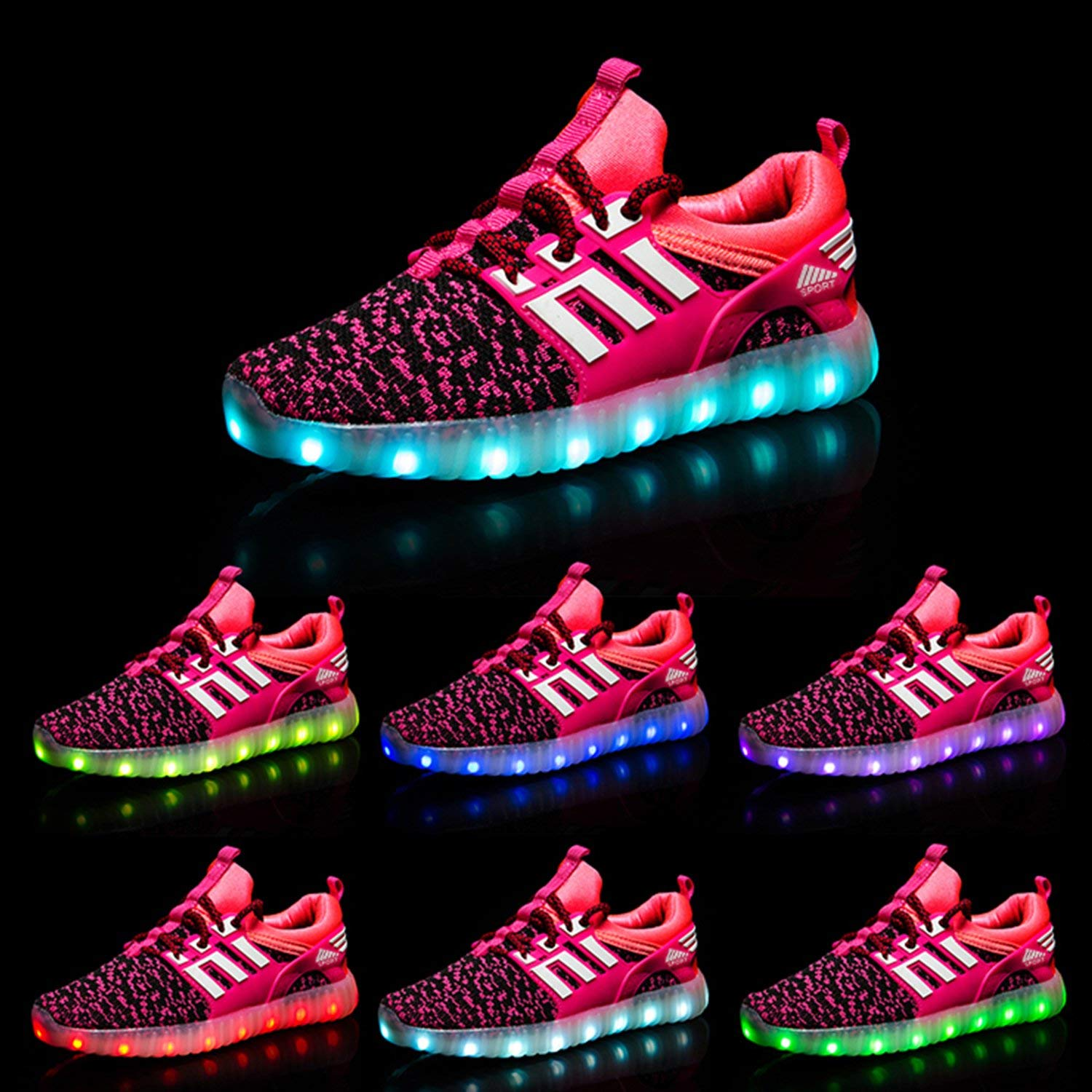 AGoGo LED Light Up Shoes USB Charging Flashing Sneakers for Kids Boys Girls Toddlers