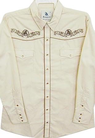 Modestone Mens Embroidered Long Sleeve Western Camisa Vaquera Mens Filigree Horse Beige: Amazon.es: Ropa y accesorios
