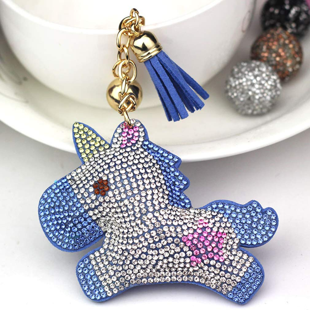 GloryMM Creative Cartoon Unicorn Shape Keychain Tassels Keyring Handbag Decor Hanging Pendant Accessories,Pink