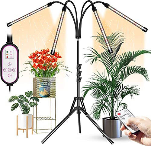 Grow Lights for Indoor Plants, Aokrean 4 Head 80 LED Floor Plant Light with Stand for Tall Large Plants, 4 8 12H Timer,10 Dimmable Levels, Growing Lamps Tripod Adjustable 11-63 Inch