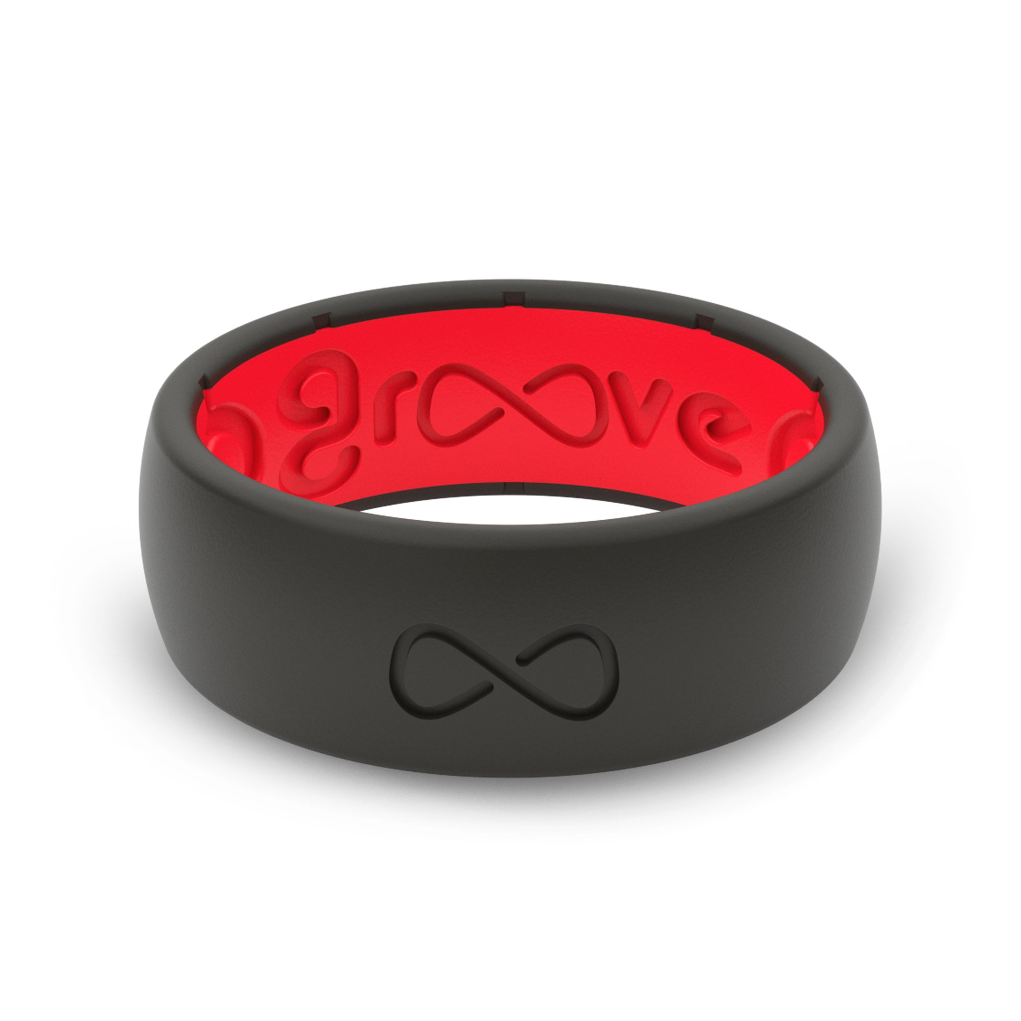 Groove Life - Groove Ring The World's First Breathable Silicone Ring Original (Midnight Black/Raspberry Red) (Size 7)