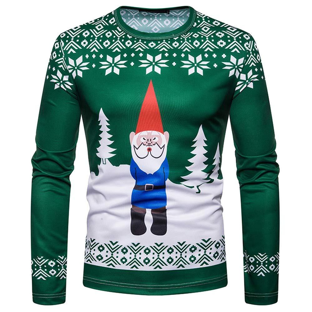 JiaMeng Natale Man's Christmas Tree Stampa Manica Lunga Top Rosso Vino Costume Natalizio da Uomo Santa Print Holiday Humor Maglietta a Maniche Lunghe Top Natale S-XXL
