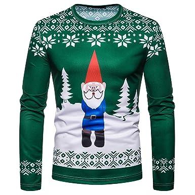¡Gran promoción!Hombres Blusas Rovinci Traje de Navidad Muñeco de Nieve de Santa Impreso Humor de Vacaciones Camiseta de Manga Larga Tops de Navidad: ...