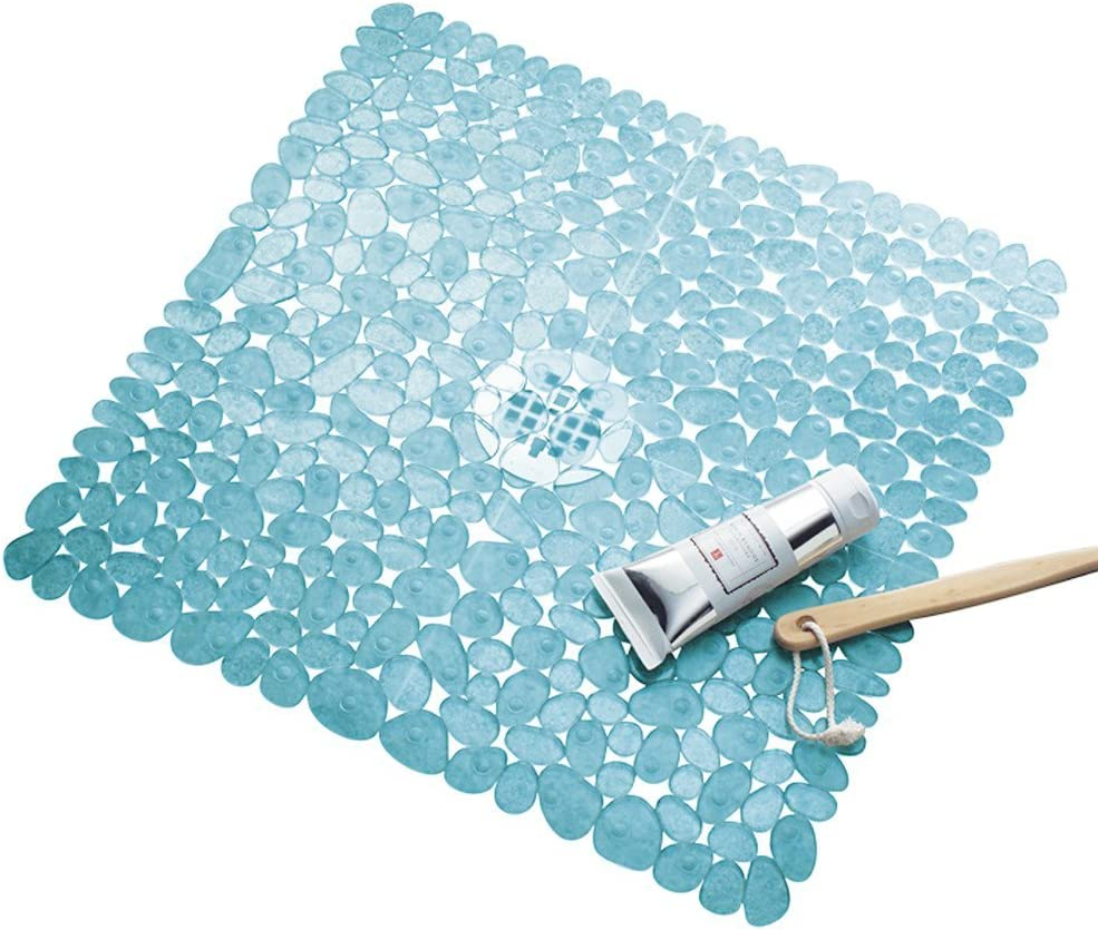 "iDesign Pebblz Suction Non-Slip Square Bath Mat for Shower, Bathtub, Stall, 22"" x 22"", Blue: Home & Kitchen"