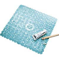 InterDesign Pebblz Non-Slip Suction Bath Mat for Shower, Bathtub - Square, Blue