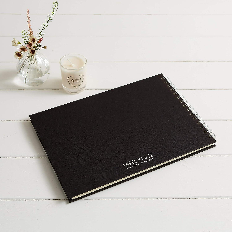 Angel & Dove - Libro de memoria (tamaño A4, con cinta, para funeral, recuerdo, condolencia, celebración de la vida), color negro: Amazon.es: Hogar
