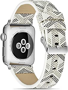 Genuine Leather Band Compatible Apple Watch Band 38mm 40mm, iwatch Series 6/5/4/3/2/1, Sports Print Pattern Strap with Colour Adapter and Buckle (White 38/40mm)