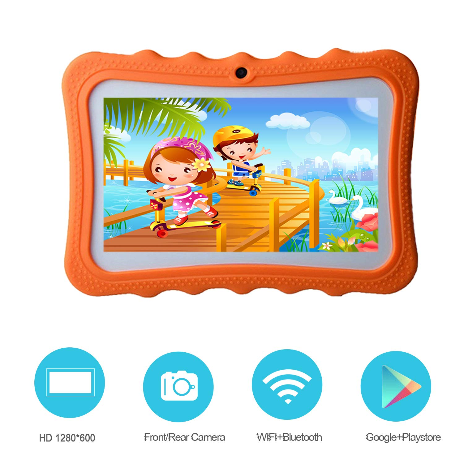 7 Pulgadas Tablet para Niños Android 8.1- Quad Core 1GB RAM 16GB ROM WiFi Bluetooth HD 1024x600 - Google Play Youtube y Control Parental Preinstalado ...