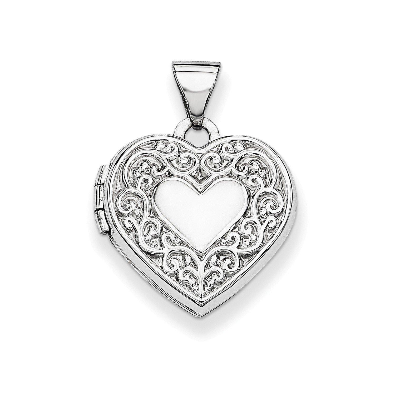 Roy Rose Jewelry 14K White Gold Heart Locket 21x15mm